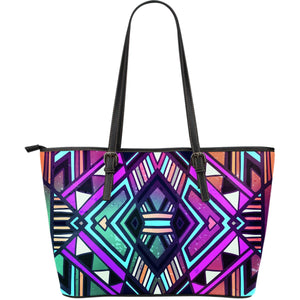 Ethnic Aztec Trippy Print Leather Tote Bag GearFrost