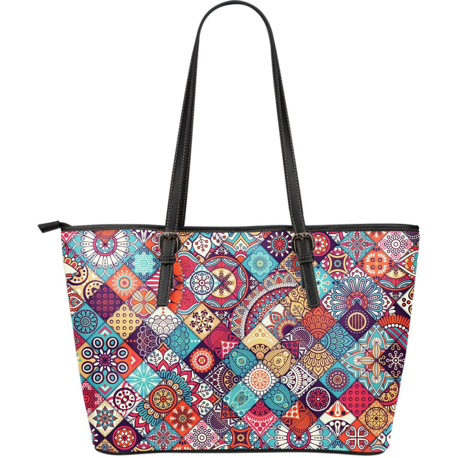 Ethnic Bohemian Mandala Pattern Print Leather Tote Bag