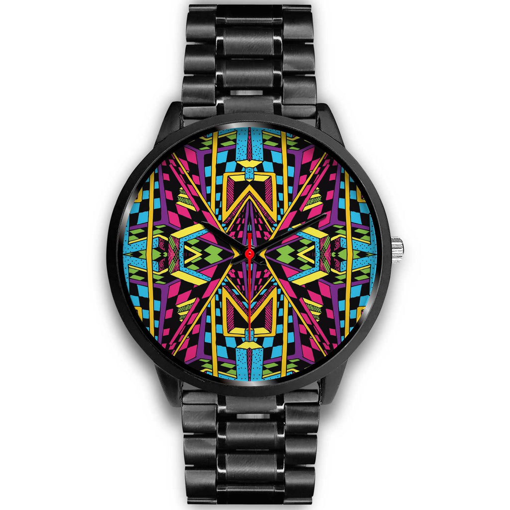 Ethnic Psychedelic Trippy Print Black Watch GearFrost