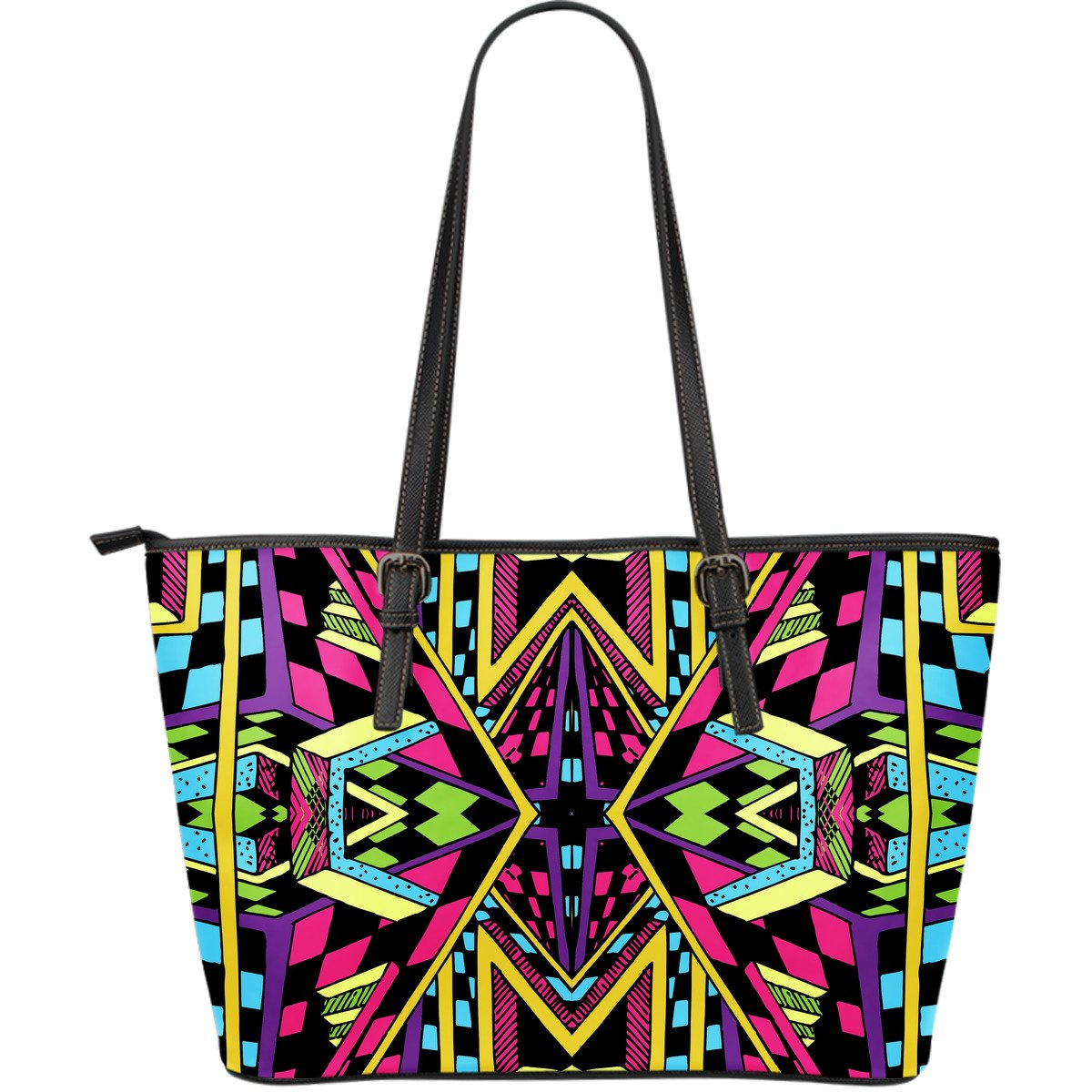 Ethnic Psychedelic Trippy Print Leather Tote Bag GearFrost