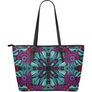 Ethnic Teal Bohemian Pattern Print Leather Tote Bag GearFrost