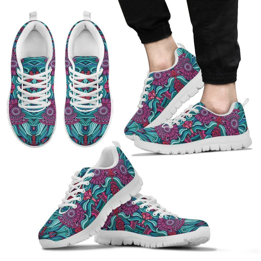 Ethnic Teal Bohemian Pattern Print Men's Sneakers GearFrost