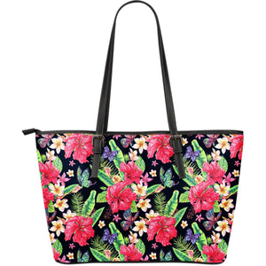 Exotic Hibiscus Flowers Pattern Print Leather Tote Bag GearFrost