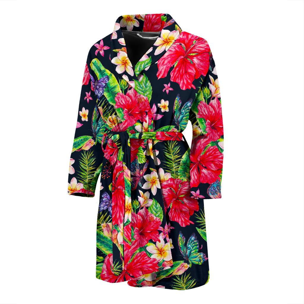 Exotic Hibiscus Flowers Pattern Print Men's Bathrobe GearFrost