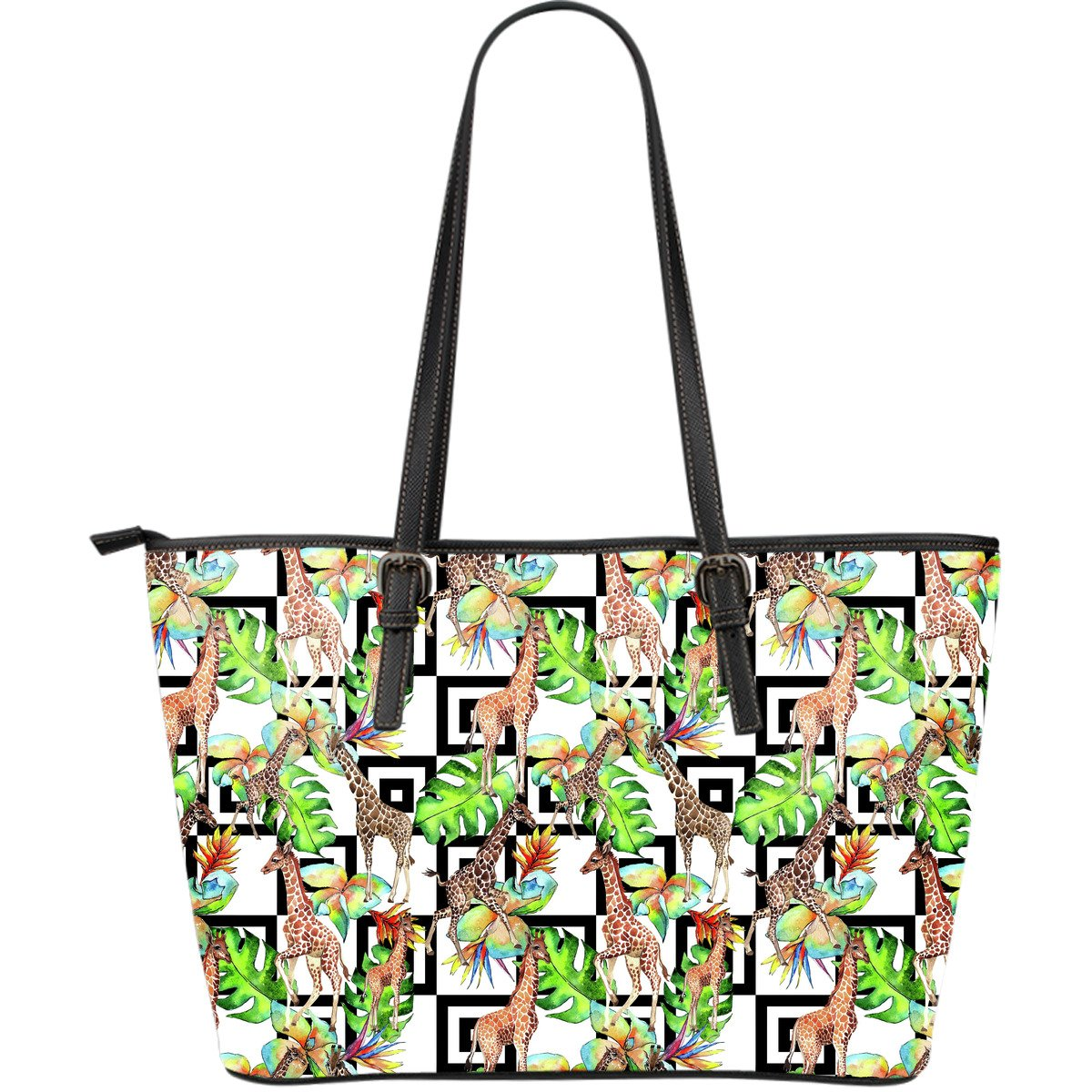 Exotic Tropical Giraffe Pattern Print Leather Tote Bag GearFrost