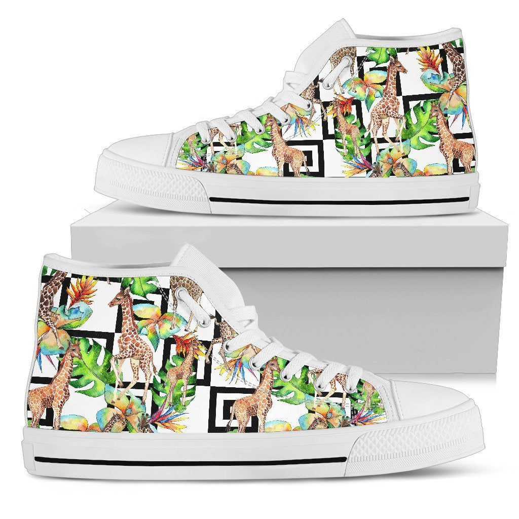 Exotic Tropical Giraffe Pattern Print Women's High Top Shoes GearFrost