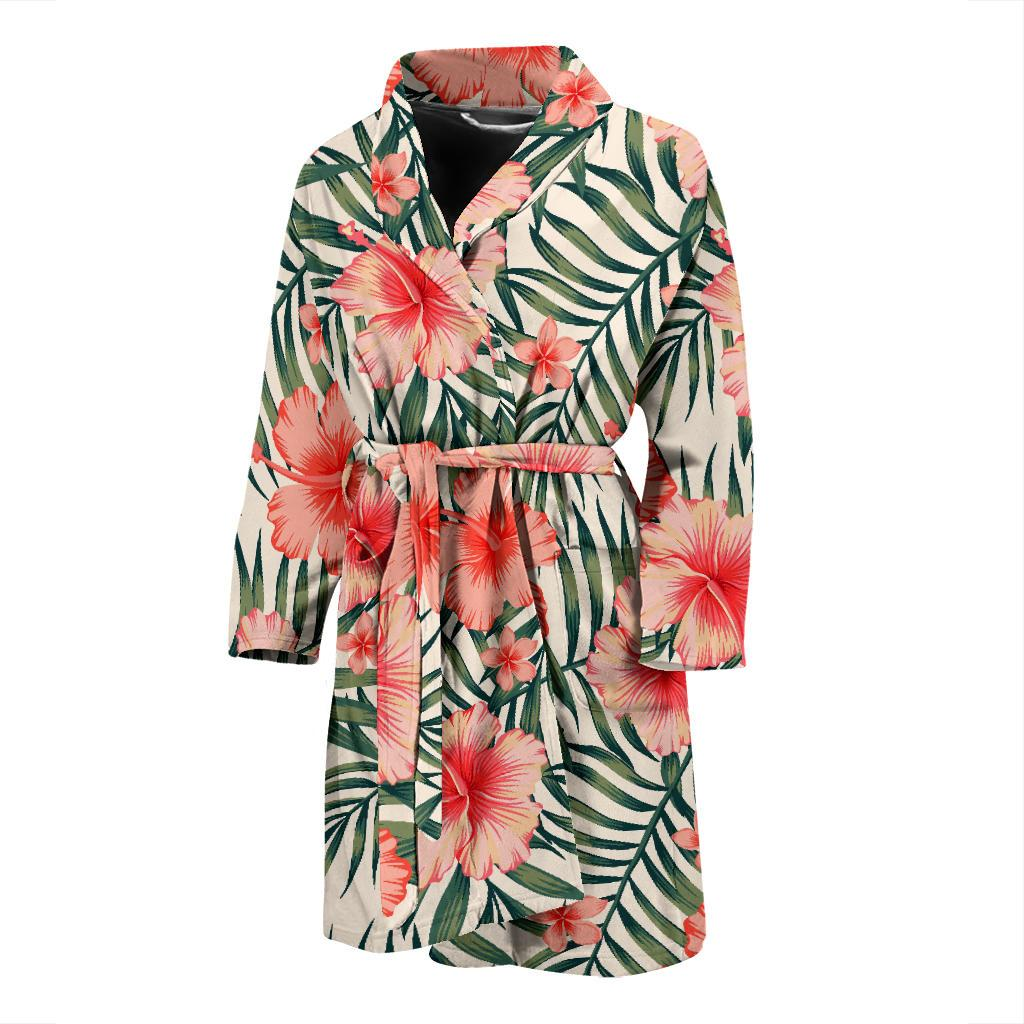 Exotic Tropical Hibiscus Pattern Print Men's Bathrobe GearFrost