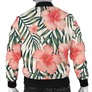 Exotic Tropical Hibiscus Pattern Print Men's Bomber Jacket GearFrost
