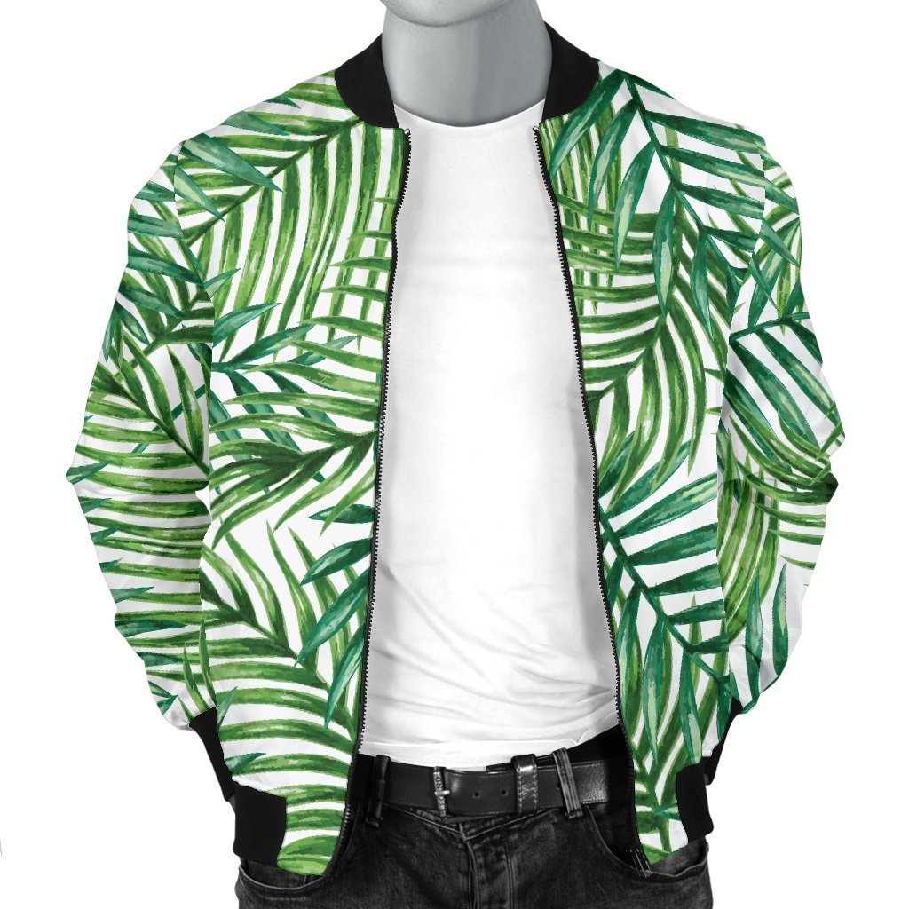 Exotic Tropical Leaf Pattern Print Men's Bomber Jacket GearFrost