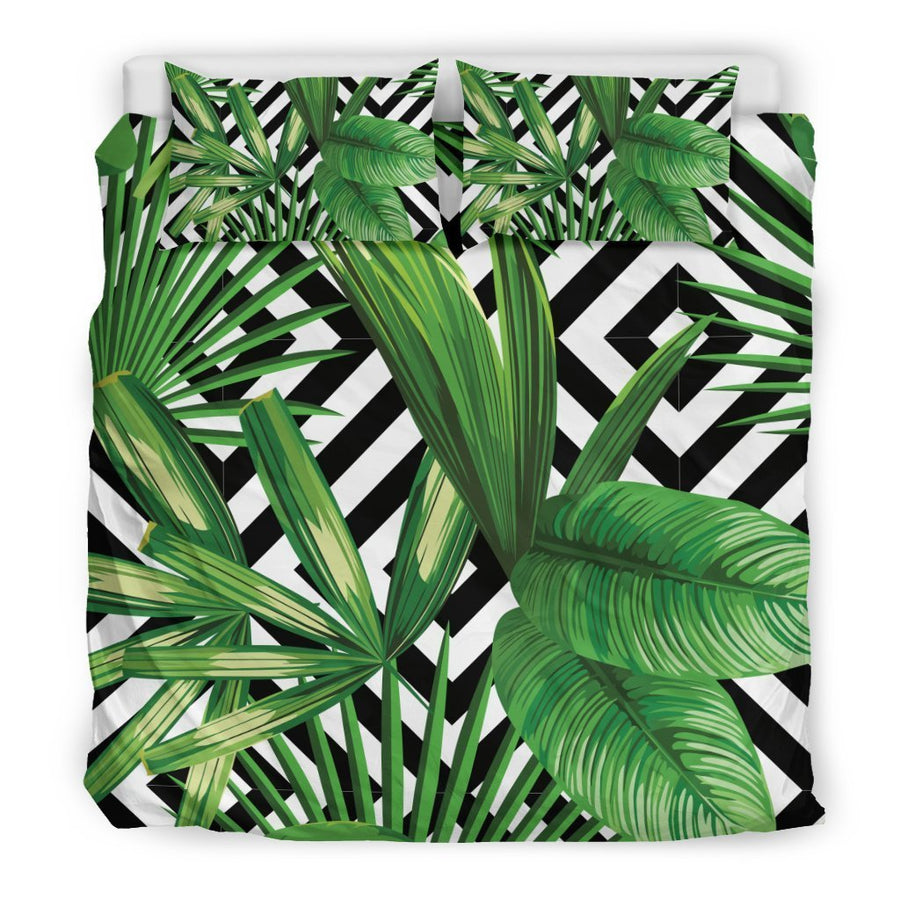 Exotic Tropical Leaves Pattern Print Duvet Cover Bedding Set GearFrost