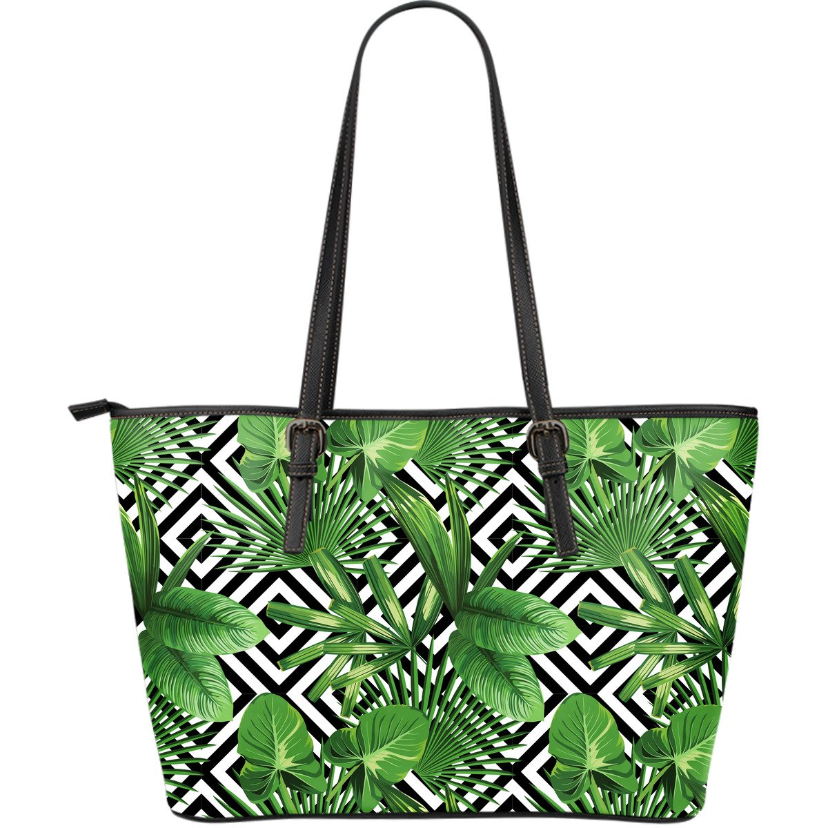 Exotic Tropical Leaves Pattern Print Leather Tote Bag GearFrost