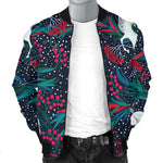 Fairy Floral Unicorn Pattern Print Men's Bomber Jacket GearFrost