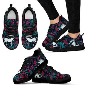 Fairy Floral Unicorn Pattern Print Women's Sneakers GearFrost