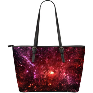 Fiery Nebula Universe Galaxy Space Print Leather Tote Bag GearFrost