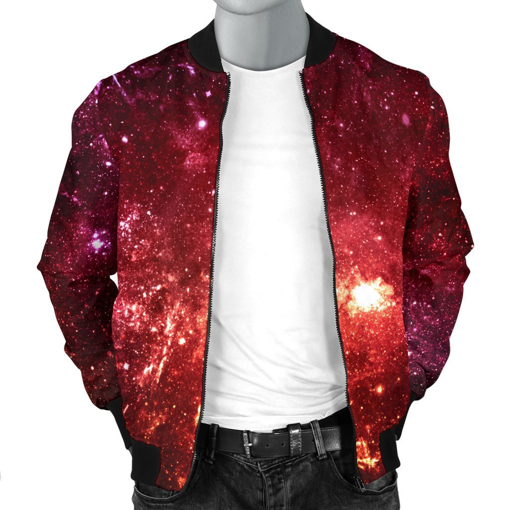 Fiery Nebula Universe Galaxy Space Print Men's Bomber Jacket GearFrost