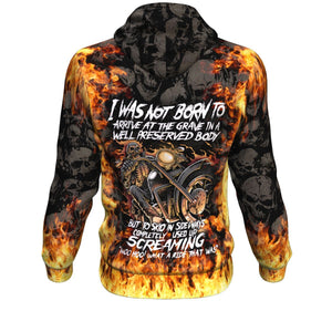 Flaming Skull Woo Hoo What A Ride That Was Unisex Pullover Hoodie GearFrost