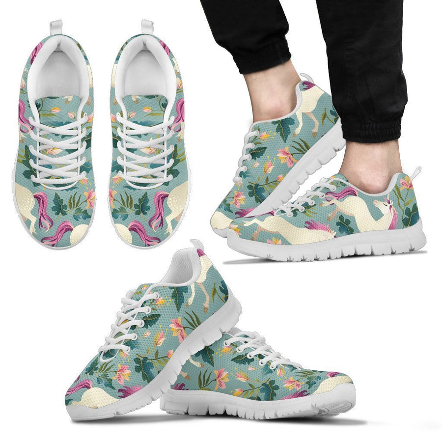 Floral Unicorn Pattern Print Men's Sneakers GearFrost