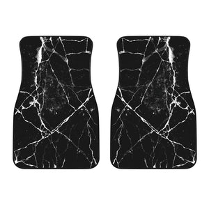 Black White Natural Marble Print Front Car Floor Mats