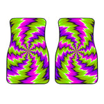 Green Vortex Moving Optical Illusion Front Car Floor Mats
