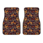Vintage Dragon Flower Pattern Print Front Car Floor Mats