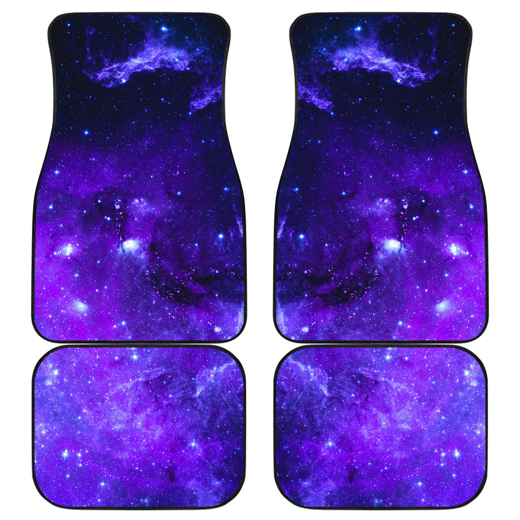 Purple Stars Nebula Galaxy Space Print Front and Back Car Floor Mats