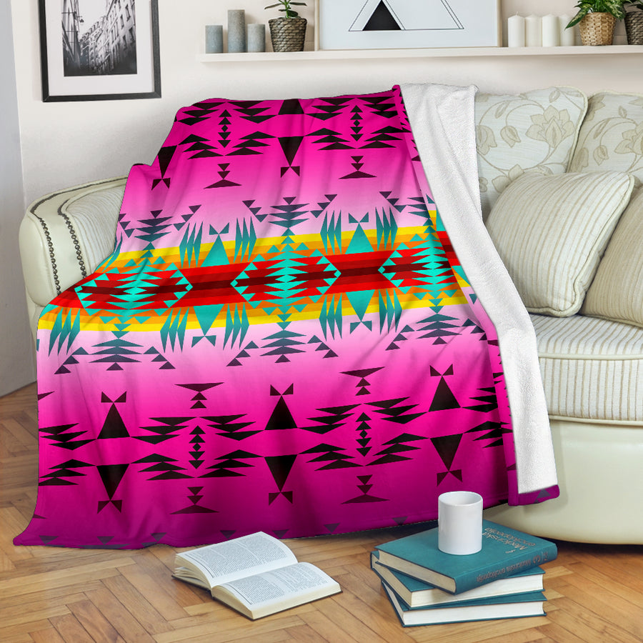 Purple Sunset Geometric Native Pattern Blanket