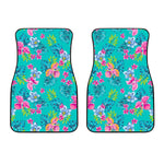 Teal Aloha Tropical Pattern Print Front Car Floor Mats