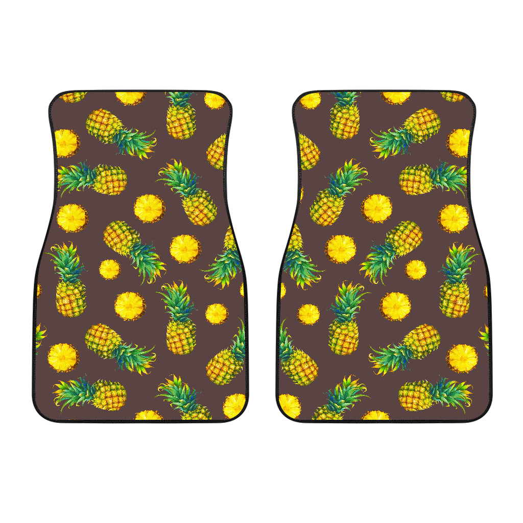 Brown Pineapple Pattern Print Front Car Floor Mats