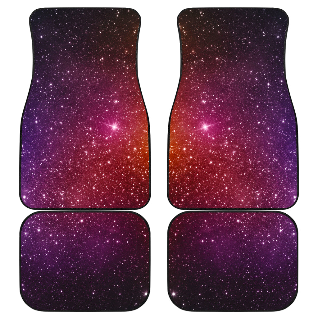 Colorful Stardust Galaxy Space Print Front and Back Car Floor Mats