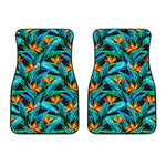 Teal Tropical Pattern Print Front Car Floor Mats