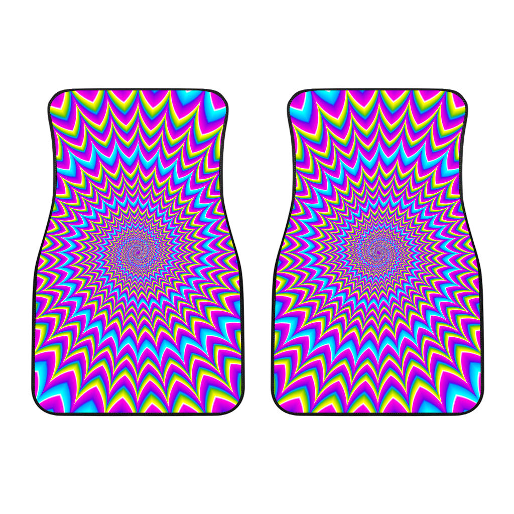 Dizzy Spiral Moving Optical Illusion Front Car Floor Mats