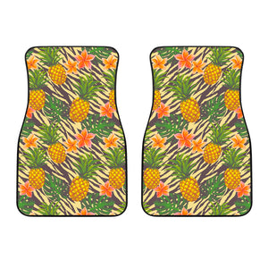 Vintage Zebra Pineapple Pattern Print Front Car Floor Mats