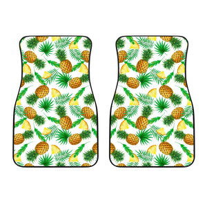 White Watercolor Pineapple Pattern Print Front Car Floor Mats