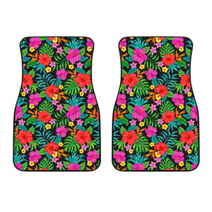 Colorful Hibiscus Flowers Pattern Print Front Car Floor Mats