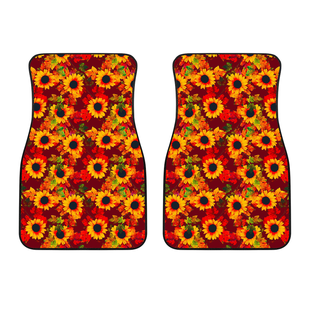Red Autumn Sunflower Pattern Print Front Car Floor Mats