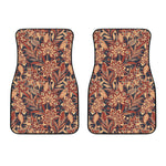 Brown Floral Bohemian Pattern Print Front Car Floor Mats