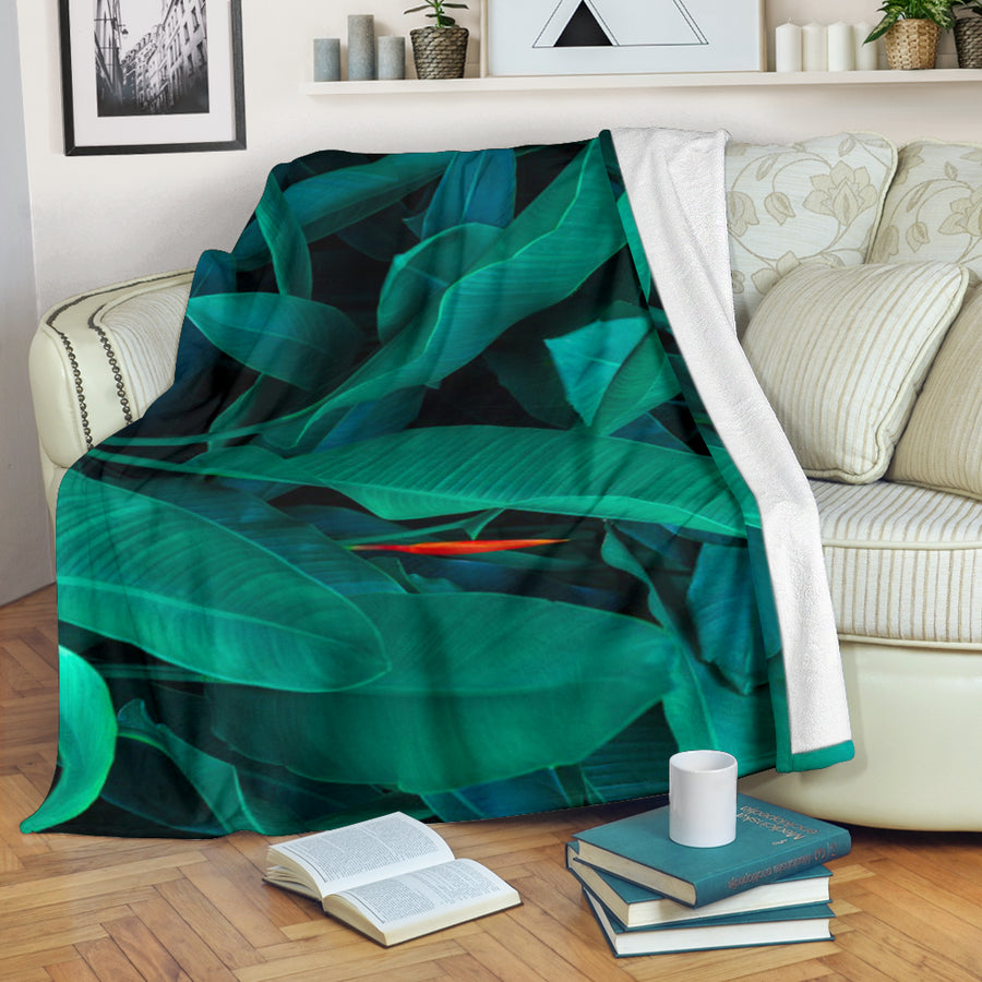 Turquoise Tropical Leaves Blanket