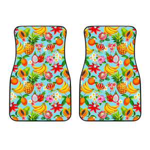 Hawaiian Tropical Fruits Pattern Print Front Car Floor Mats