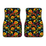 Sunflower Floral Pattern Print Front Car Floor Mats