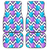 Purple Zig Zag Pineapple Pattern Print Front and Back Car Floor Mats