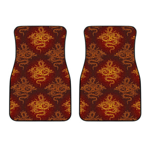 Gold Chinese Dragon Pattern Print Front Car Floor Mats