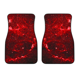 Red Stardust Universe Galaxy Space Print Front Car Floor Mats