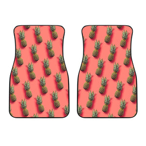 Pastel Pink Pineapple Pattern Print Front Car Floor Mats