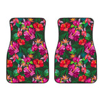 Hawaiian Floral Flowers Pattern Print Front Car Floor Mats