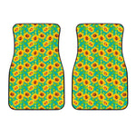 Teal Watercolor Sunflower Pattern Print Front Car Floor Mats