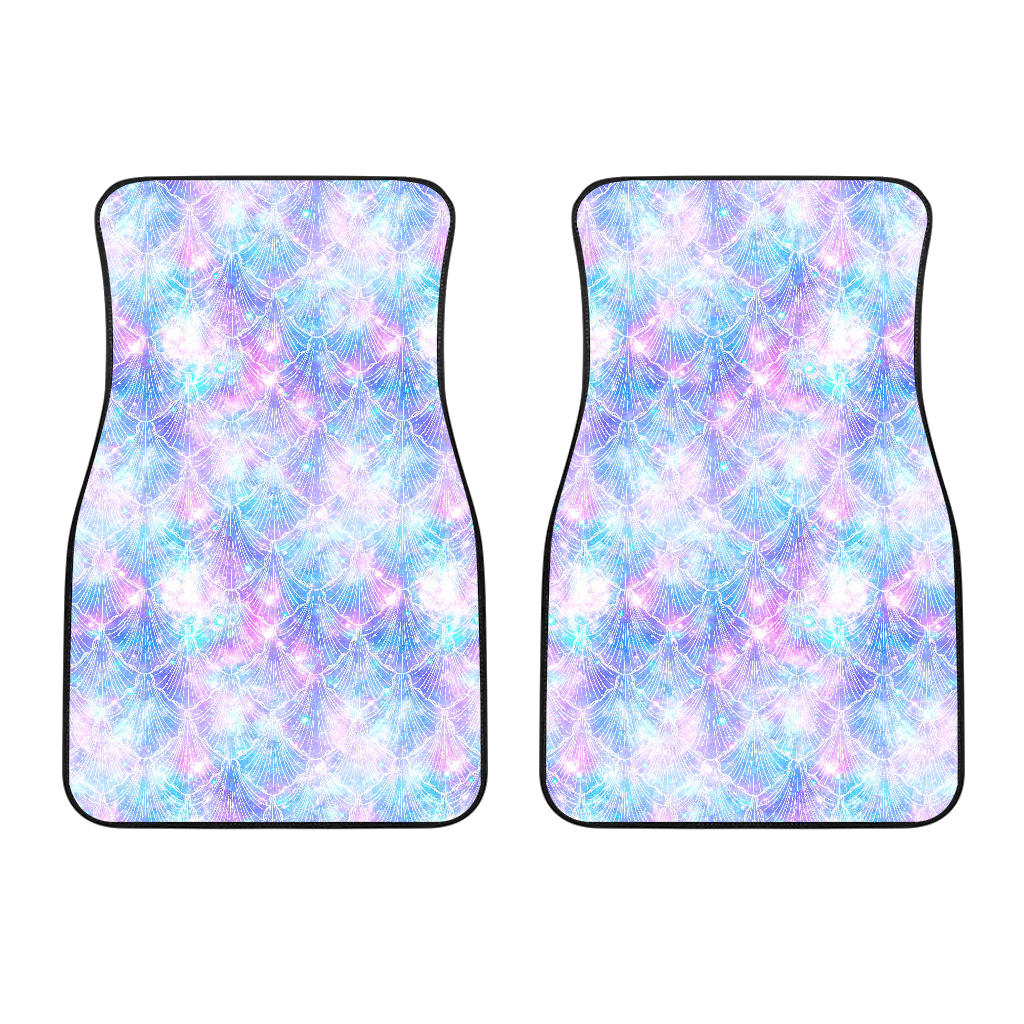 Galaxy Mermaid Scales Pattern Print Front Car Floor Mats