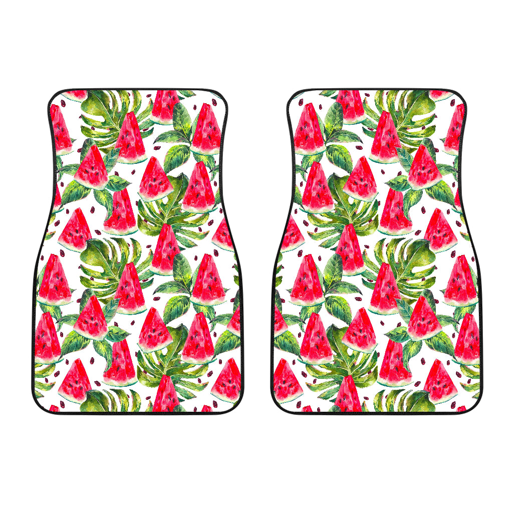 White Tropical Watermelon Pattern Print Front Car Floor Mats