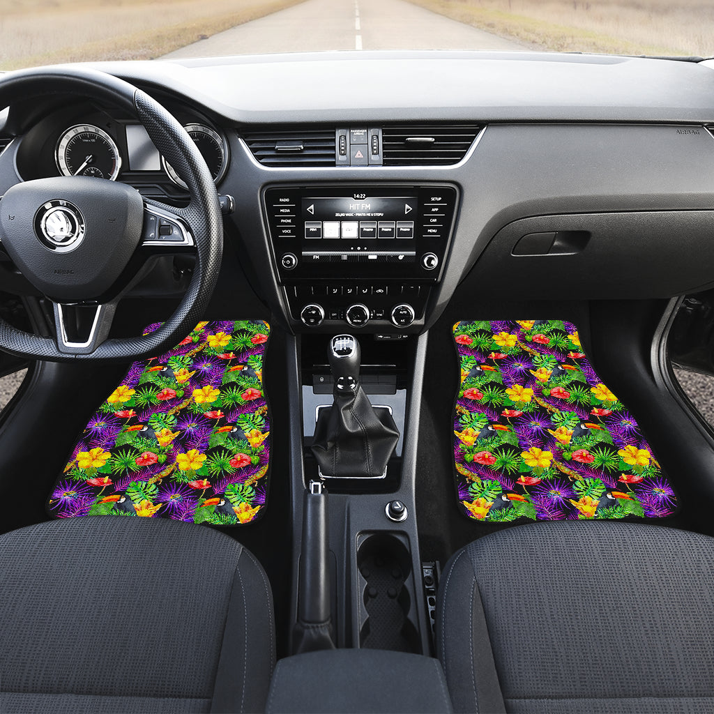 Dark Hawaiian Tropical Pattern Print Front Car Floor Mats