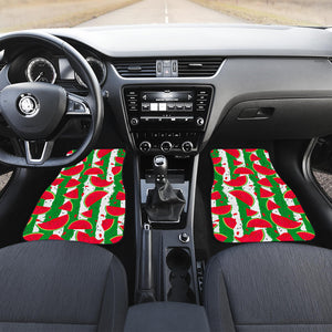 Green Stripes Watermelon Pattern Print Front Car Floor Mats