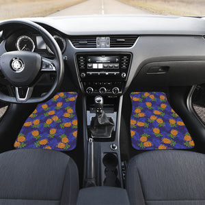 Blue Leaf Pineapple Pattern Print Front Car Floor Mats